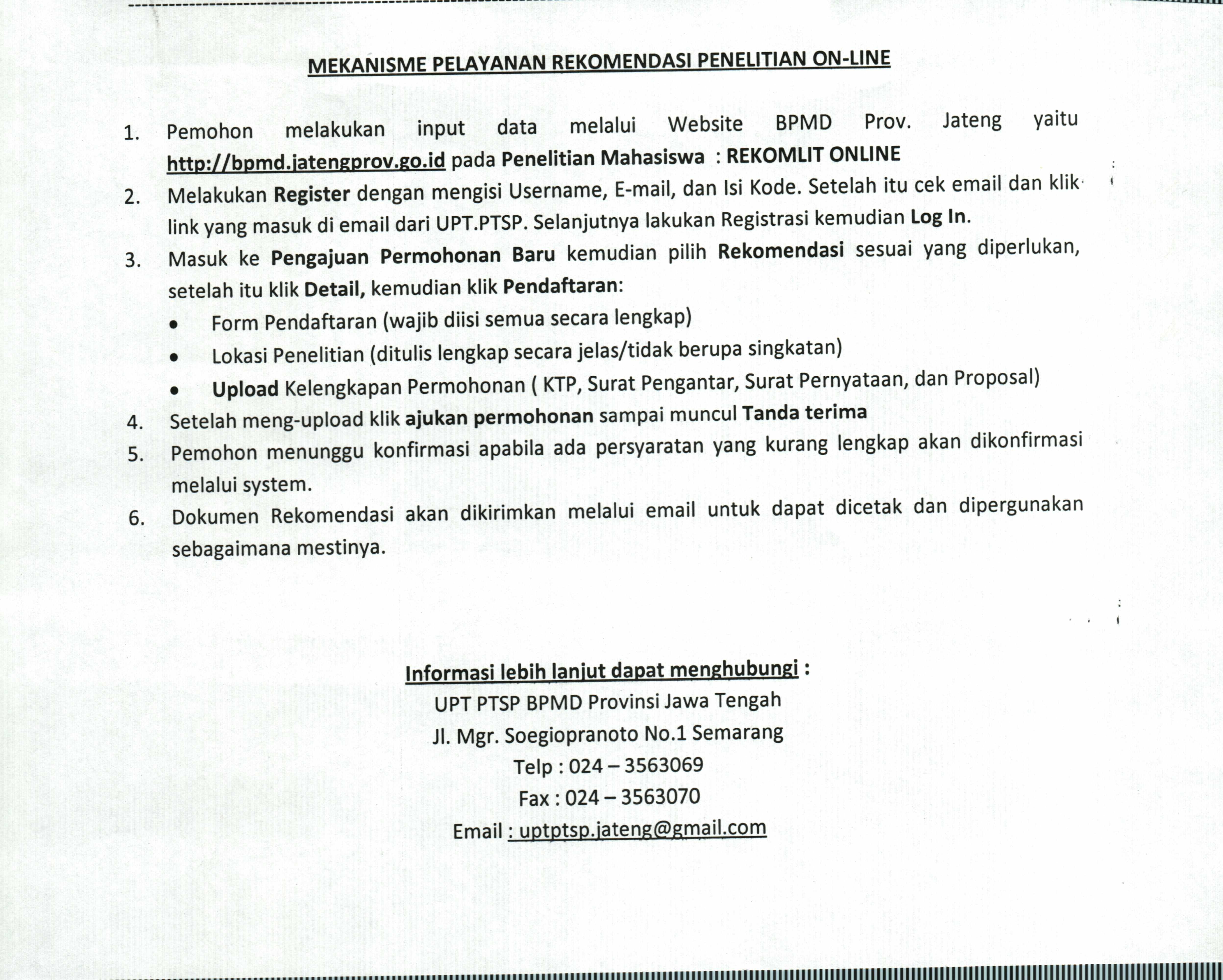 Mekanisme Pendaftaran Permohonan Rekomendasi Penelitian